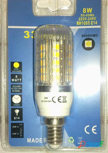 Lampada E14 33 led grandi Luce Calda 8W