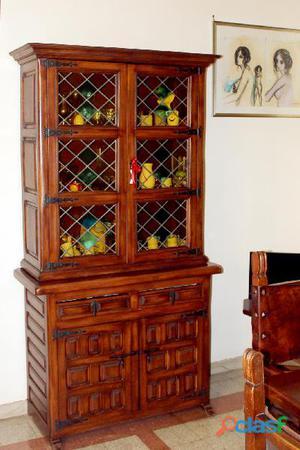 Credenza vetrina legno massello stile spagnolo