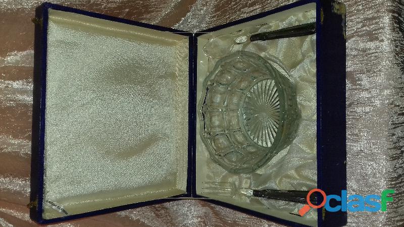 Insalatiera in cristallo e accessori argento 800
