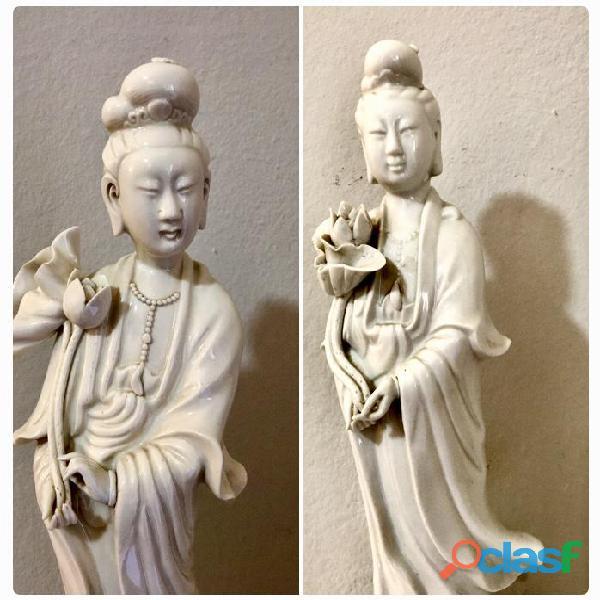 2 statue Buddha Guanyin H 36 cm marchio antico Cina