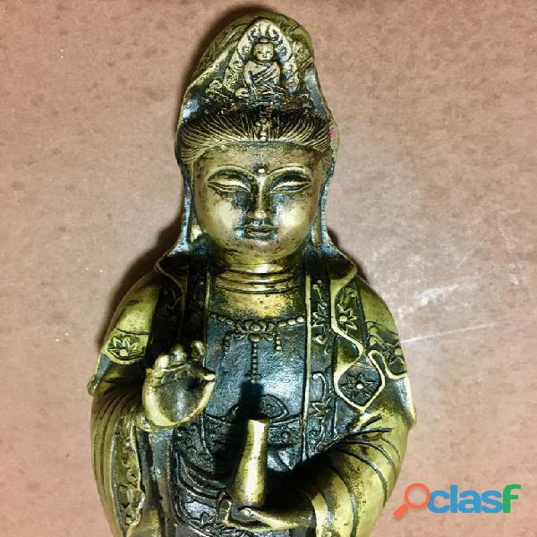 Guaniyn bronzo dorato marchio antico H 33 cm Cina