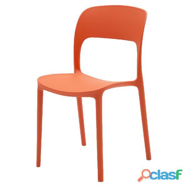 Sedia in plastica moderna arancione art. lf631 consegna gratis arredamentishop.it