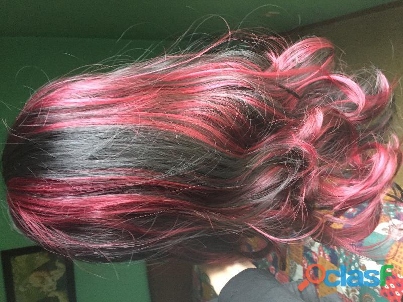 Parrucca sintetica castana e rossa