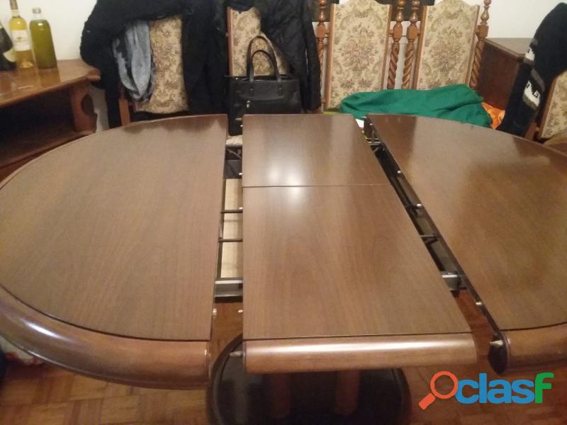Tavolo sala da pranzo allungabile, legno massello con 6 sedie