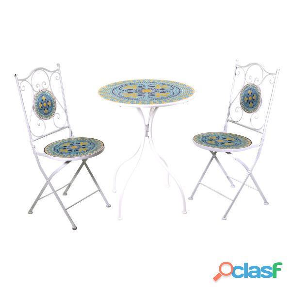 Tavolo metallo brindisi mosaico tondo 2 sedie art.6452180000 consegna gratis arredamentishop.it