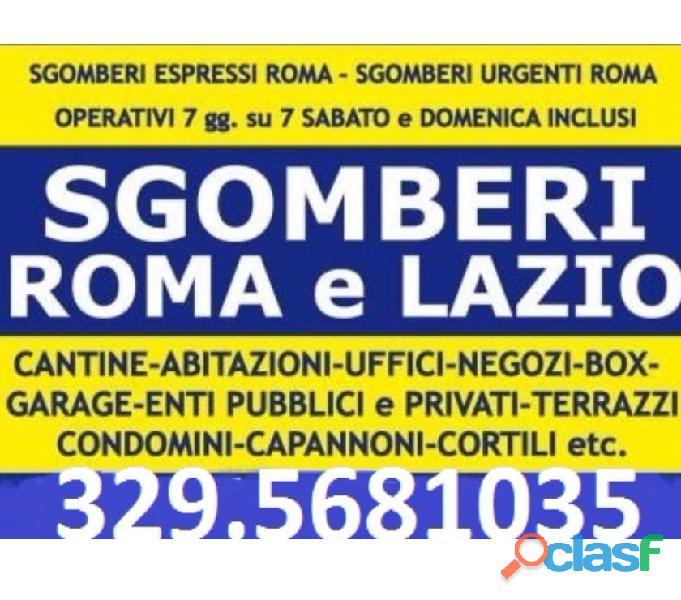Roma sgomberi economici abitazioni box cantine locali 7gg su7