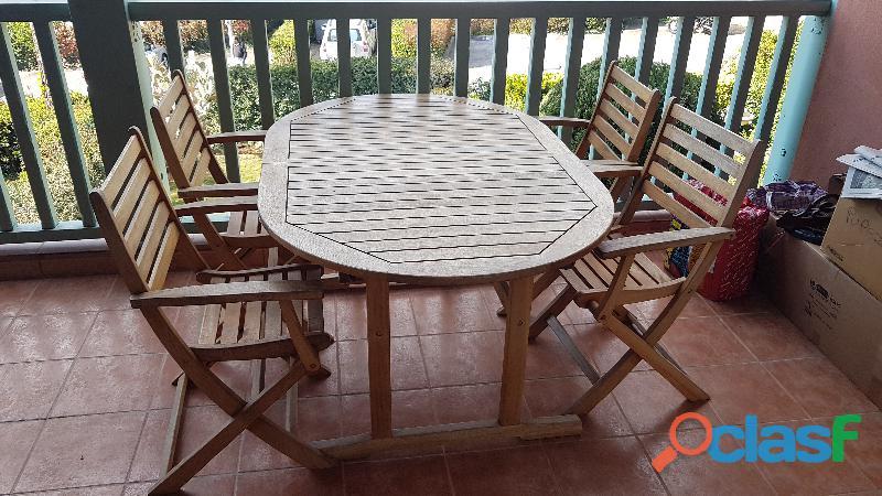 Tavolo in legno legnoluce allungabile con 4 sedie pieghevoli