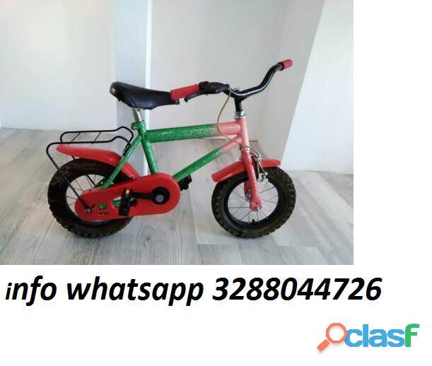 """Bici bicicletta 1 mtb bambino carter rosso 12"""" con rotelle"""