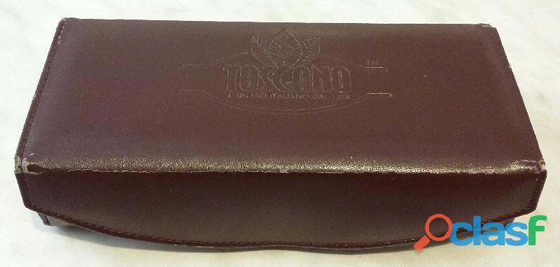 Vecchio contenitore porta sigari marchio toscano in pelle e legno perfetto