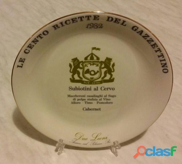 Piatto in ceramica tognana: le cento ricette del gazzettino 1982 nuovo