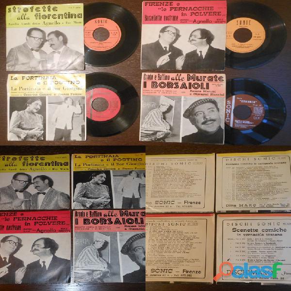 45 giri, n. 4 dischi strofette, barzellette, scenette comiche in vermacolo fiorentino.