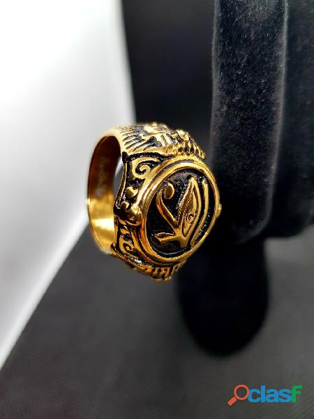 Possente anello egiziano antico acciaio inossidabile 316 placcato in oro