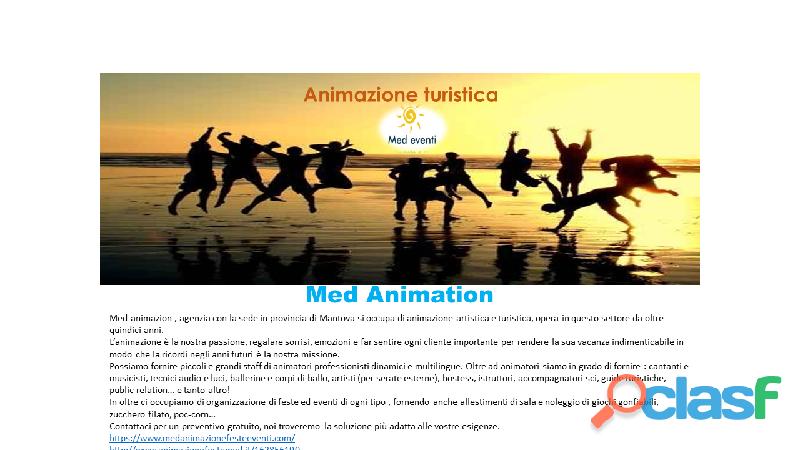 Cerchiamo animatori turistici con esperienza