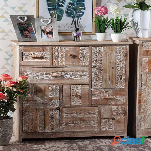 Cassettiera in legno intarsiata nuova art.49280 consegna gratis arredamentishop.it
