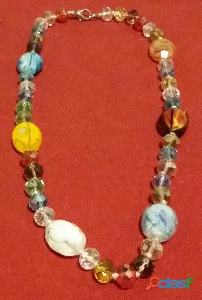Collana di bellissime perle in vetro sfaccettato brillantate di murano anni '70 come nuova