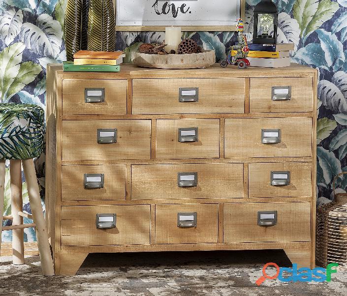 Cassettiera in legno naturale nuova art.53246 consegna gratis arredamentishop.it
