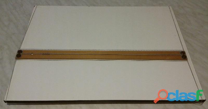 Fara parallelografo riga in legno tavola da disegno cm.63x48 con maniglia ottimo