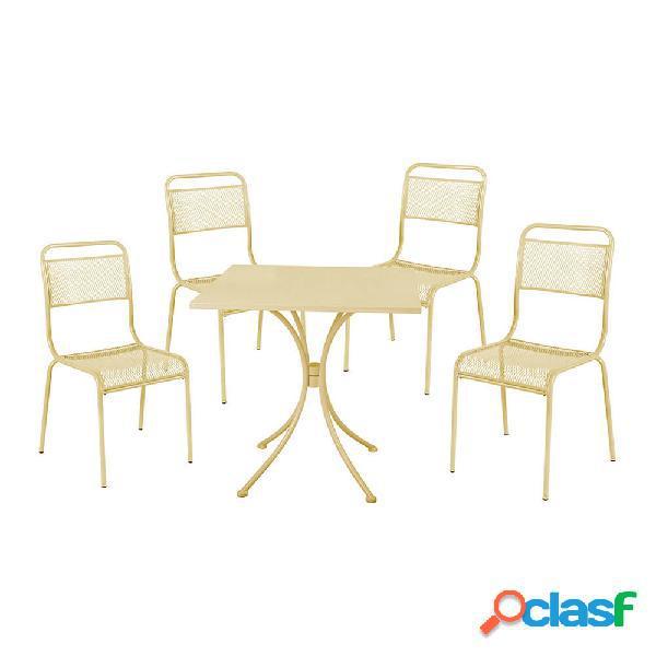 Set tavolo + 4 sedie in acciaio verniciato crema salotto ocean cream in italia