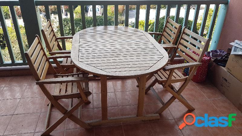 Tavolo in legno legnoluce allungabile con 4 sedie pieghevoli in italia