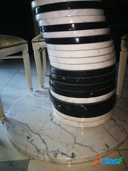 Tavolo in marmo e vetro + 4 sedie in italia