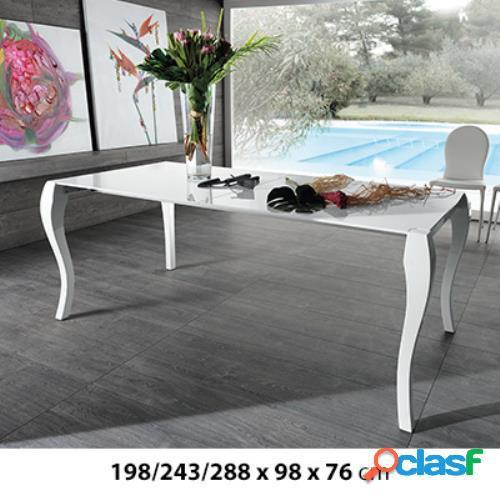 Tavolo con allunghe in legno laccato bianco 198/243/288x98x76cm stones shining om/097/p in italia