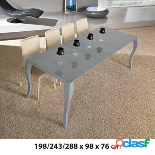 Tavolo con allunghe in legno laccato grigio 198/243/288x98x76cm stones shining om/097/pg in italia