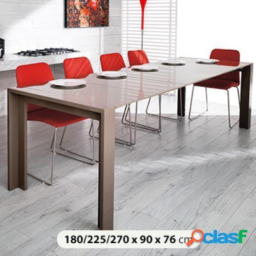Tavolo da pranzo con allunghe in legno laccato tortora 180/225/270x90x76cm stones driver om/099/t in