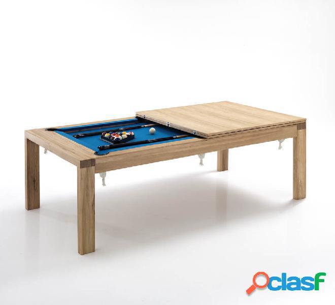 Tavolo e biliardo in legno massello e interno effetto velluto tomasucci karambola in italia