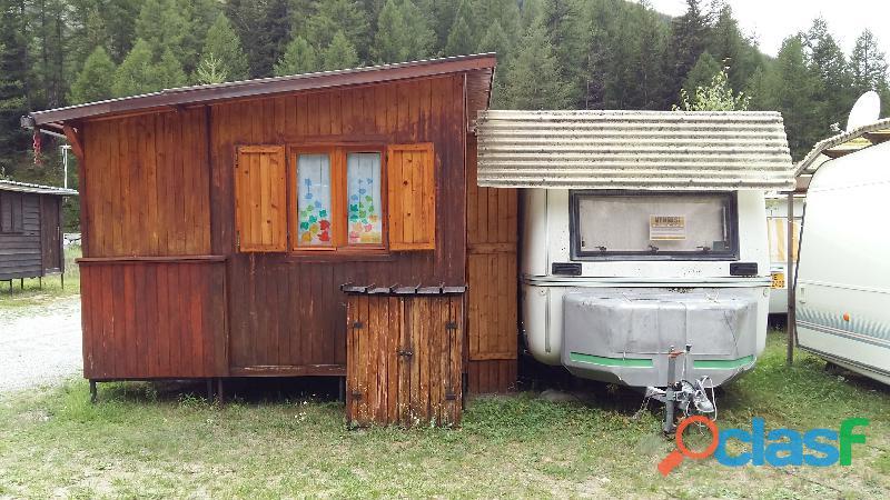 Roulotte fissa con veranda in legno