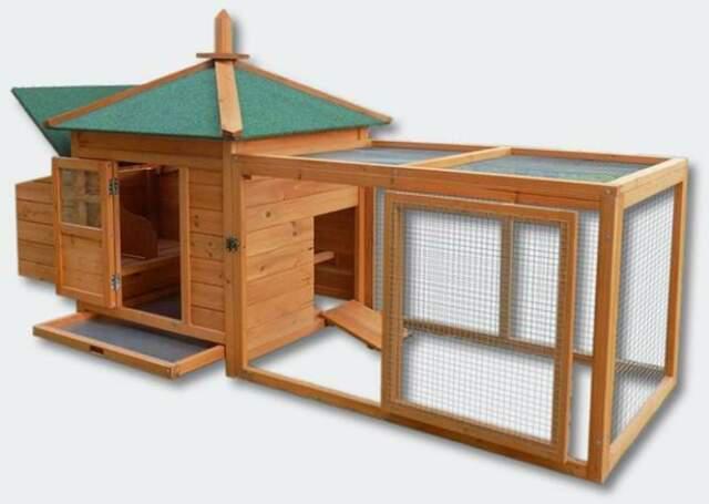Pollaio per galline in legno con recinto casetta da giardino