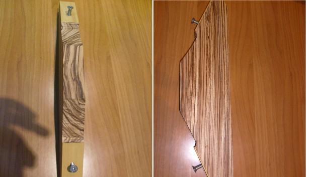 Riser arco prelavorato in zebrawood figured piu' 2 perni da