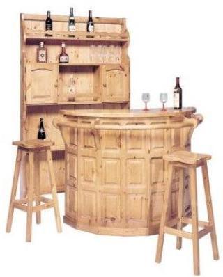 Mobile bar rustico in legno massello da salotto o taverna