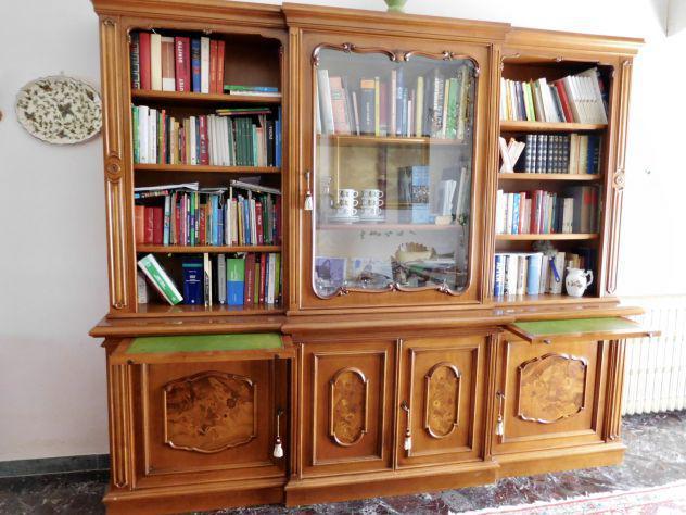 Libreria cristalliera credenza d'epoca in noce finemente