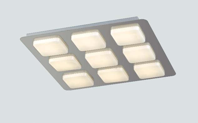 Plafoniera moderna quadrata metallo acrilico 9 luci soffitto