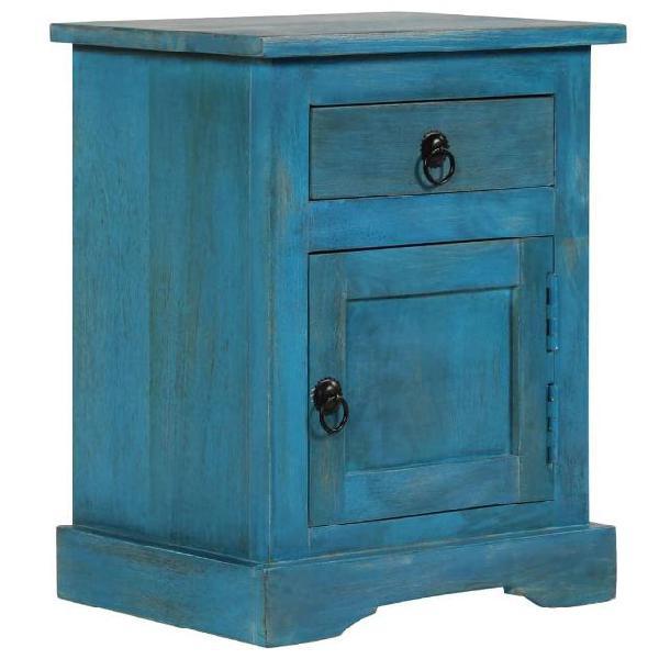 vidaXL Comodino in Legno Massello di Mango 40x30x50 cm Blu