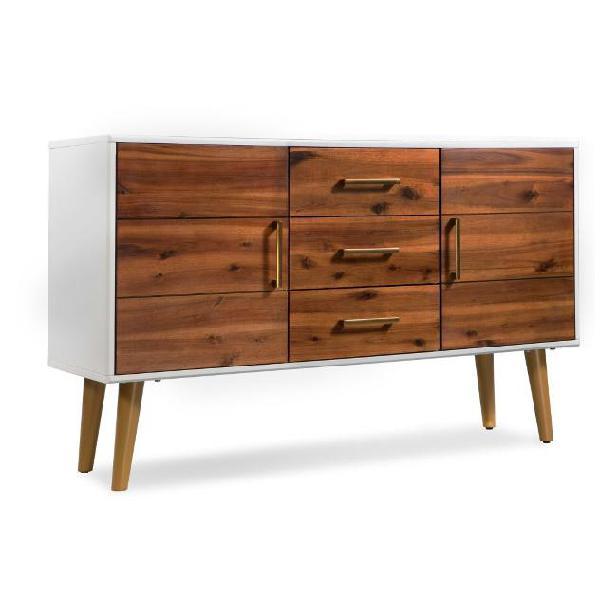 Vidaxl credenza in legno massello di acacia 115x35x70 cm