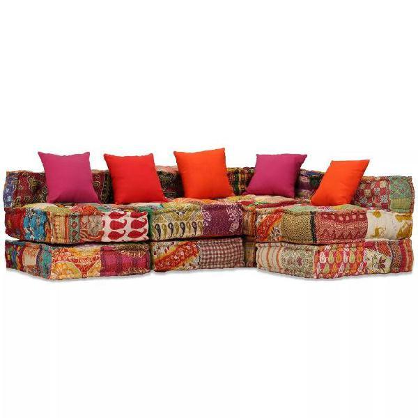 Vidaxl divano letto modulare a 4 posti in tessuto patchwork