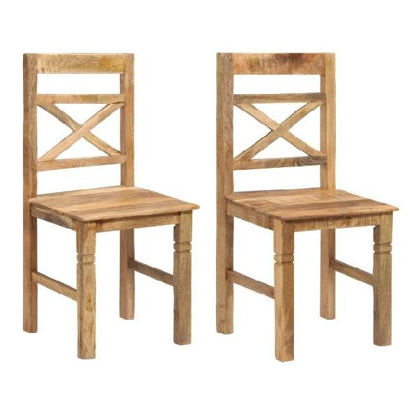 Vidaxl sedie da pranzo 2 pz in legno massello di mango