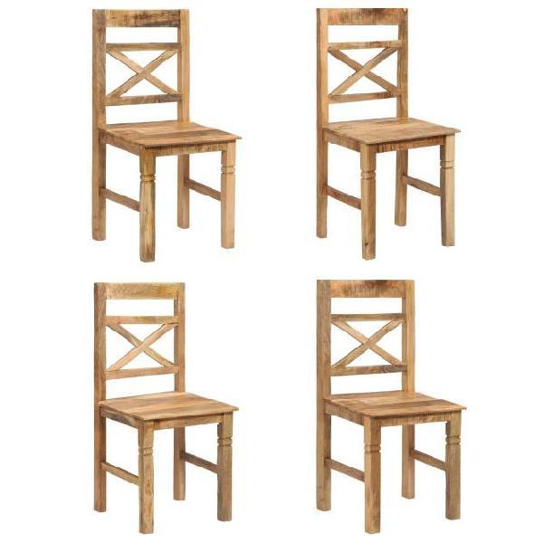 Vidaxl sedie da pranzo 4 pz in legno massello di mango
