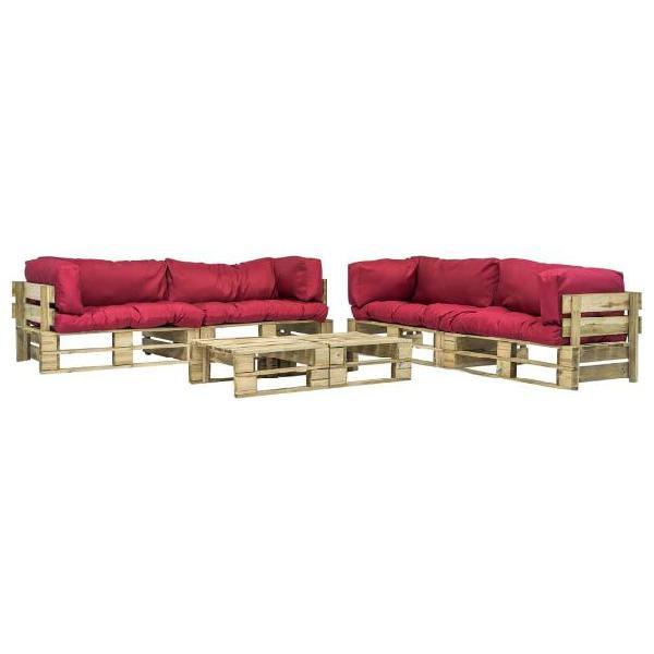 Vidaxl set divani da giardino 6 pz pallet cuscini rossi in