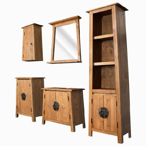 Vidaxl set da bagno 5 pz in legno massello di pino di
