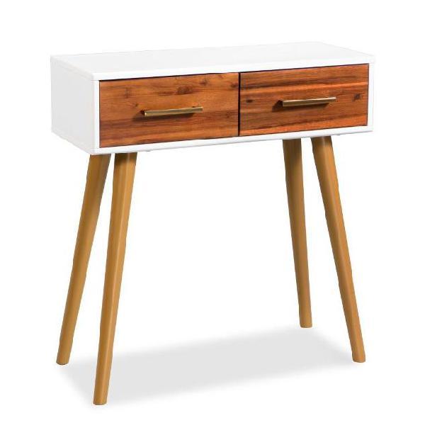 Vidaxl tavolo consolle in legno massello di acacia 70x30x75