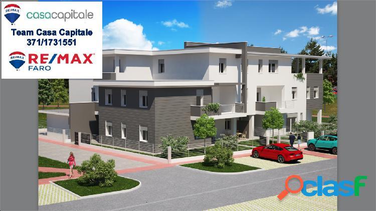 Nuova costruzione, 2 camere, 2 wc e terrazzo.