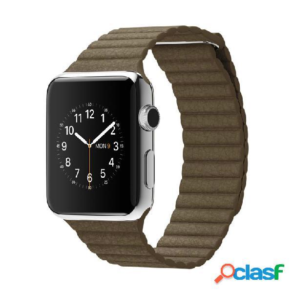 Apple watch 42mm cassa in acciaio con pelle marrone (medio) - mj402