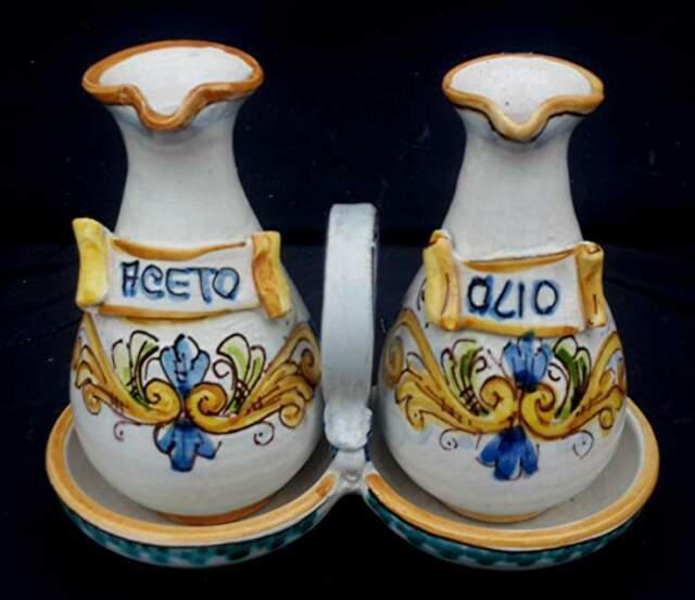 Servizio oliera due pezzi in ceramica di caltagirone