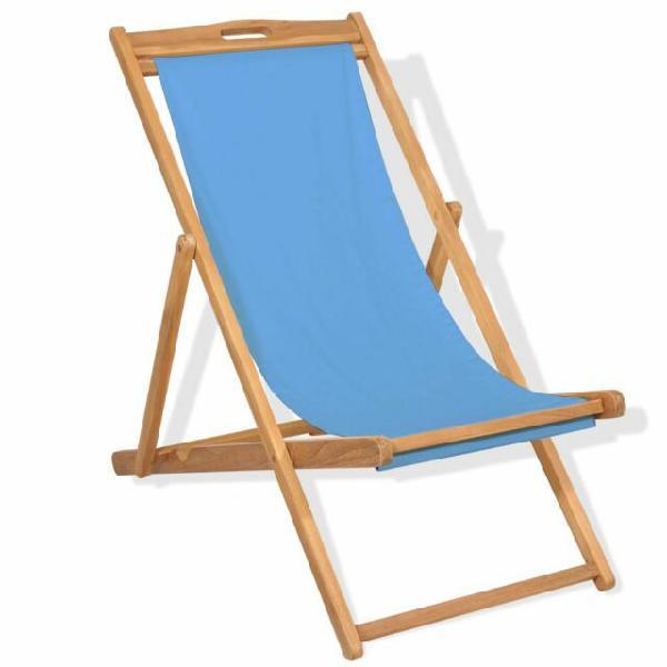 Resistente Sedia a Sdraio Blu in Legno di Faggio Eco con
