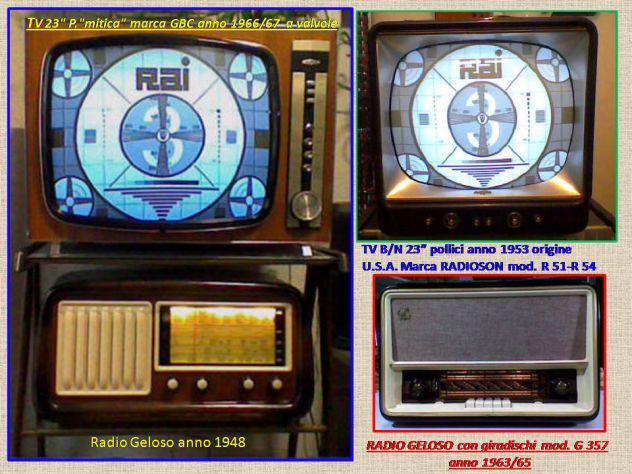 Kit. tv b/n + radio + carrello.