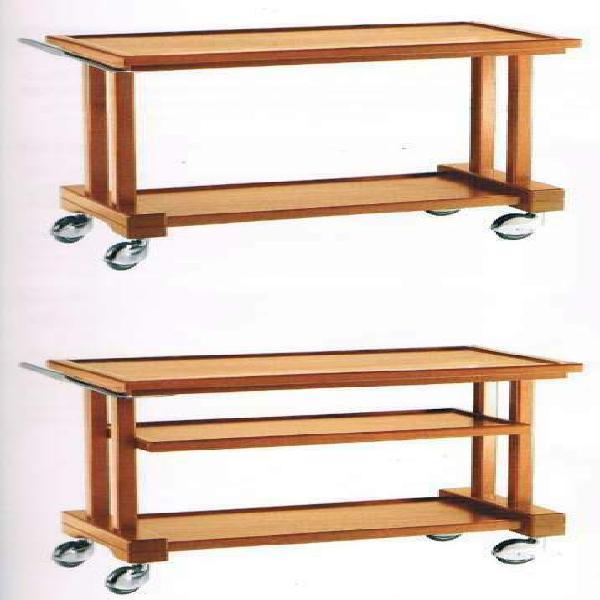 Carrello in legno servizio sala 2 piani cm 115