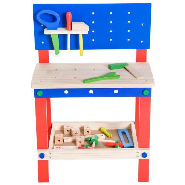 Banco da lavoro giocattolo in legno per bambini con 20