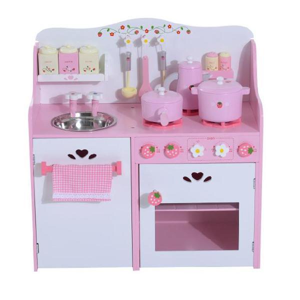Cucina giocattolo per bambini in legno con accessori rosa